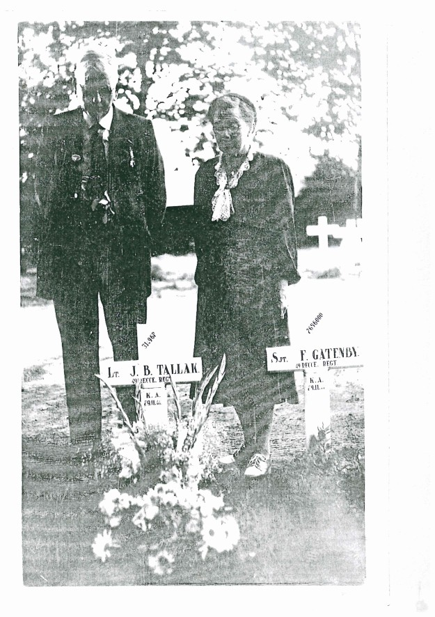 A faded photocopy of a photo of a visit to Tallack's original cross, The visitors are his parents. Photograph c/o Tony Dyson's 2007 research.