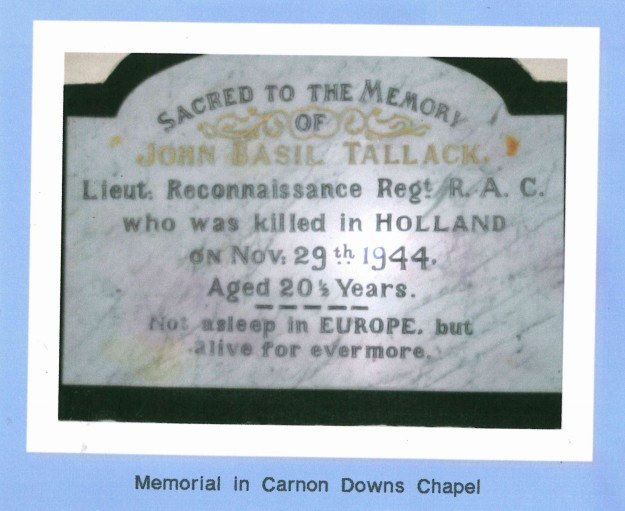 Plaque in Carnon Downs chapel to J B Tallack  c/o Tony Dyson's 2007 research.