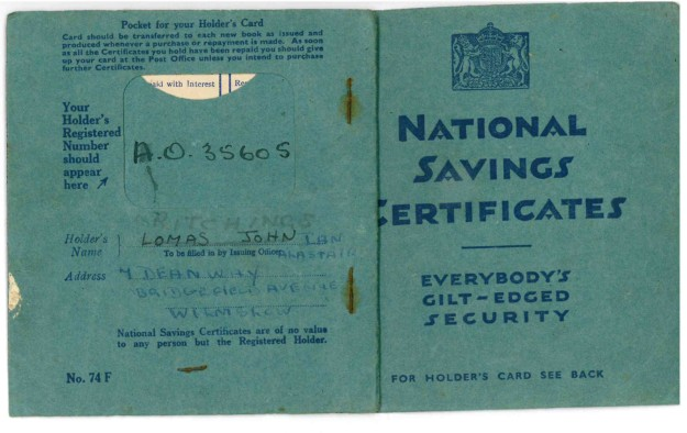 National Savings Book Source: from Author's collection, Mark Norris.